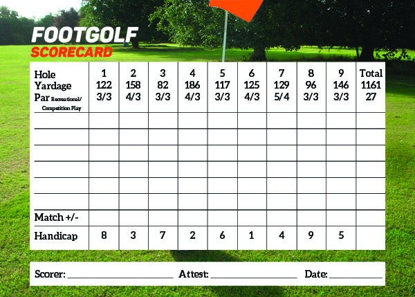 FootGolf ScoreCard
