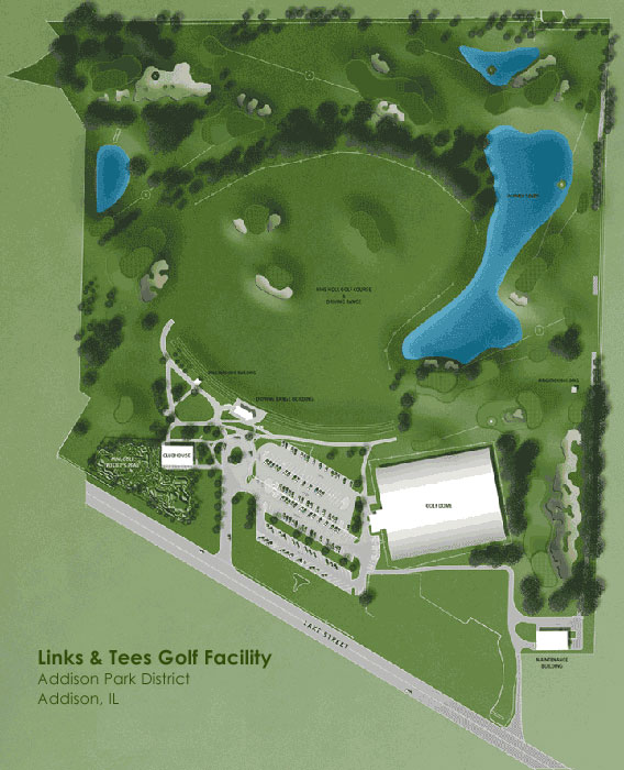 Links & Tees Golf Course Layout.