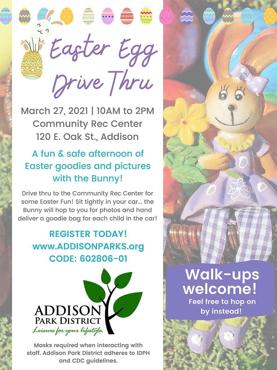 Easter Egg Drive Thru, March 27, 2021 | 10AM to 2PM, Community Rec Center, 120 E. Oak St., Addison