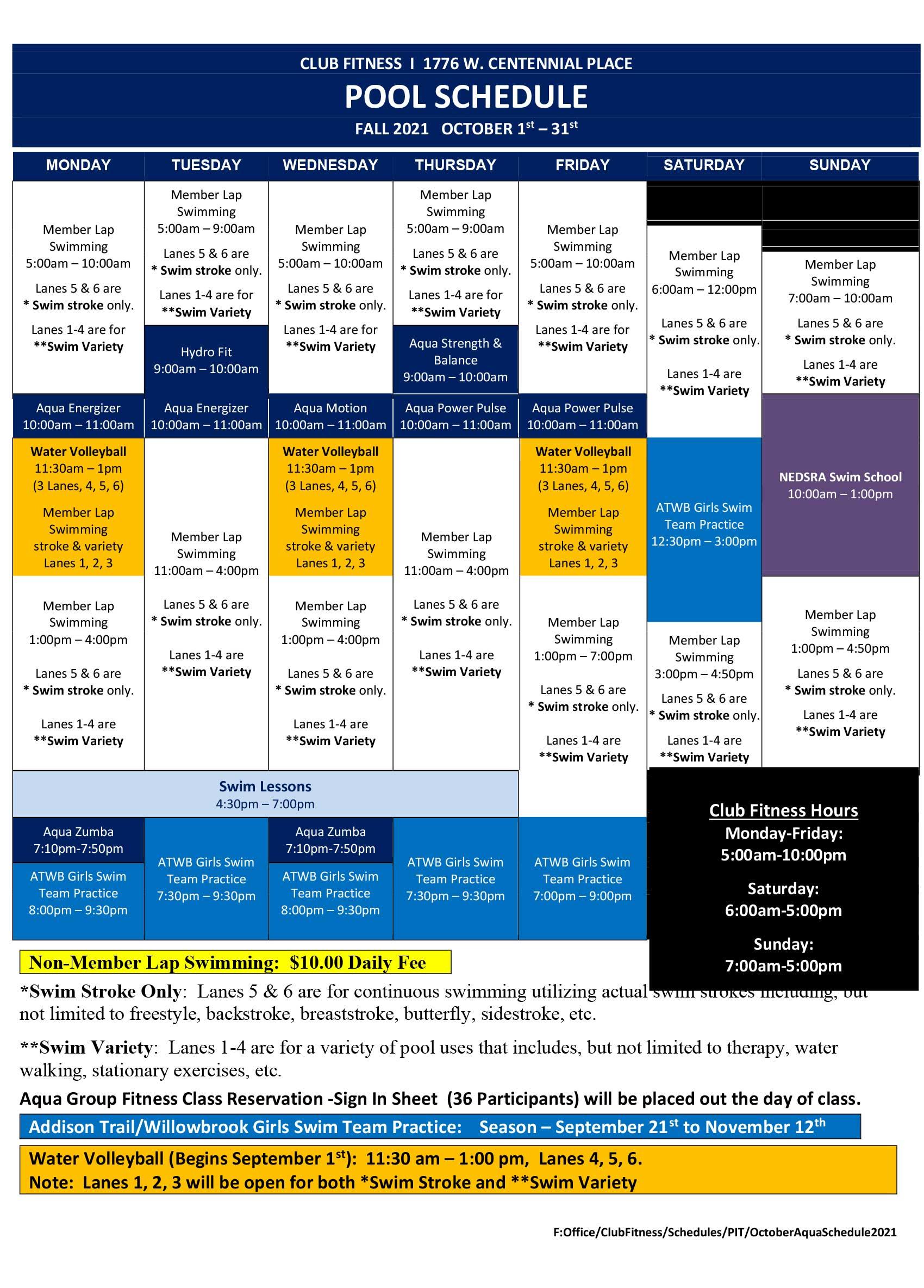 Pool Schedule October 2021